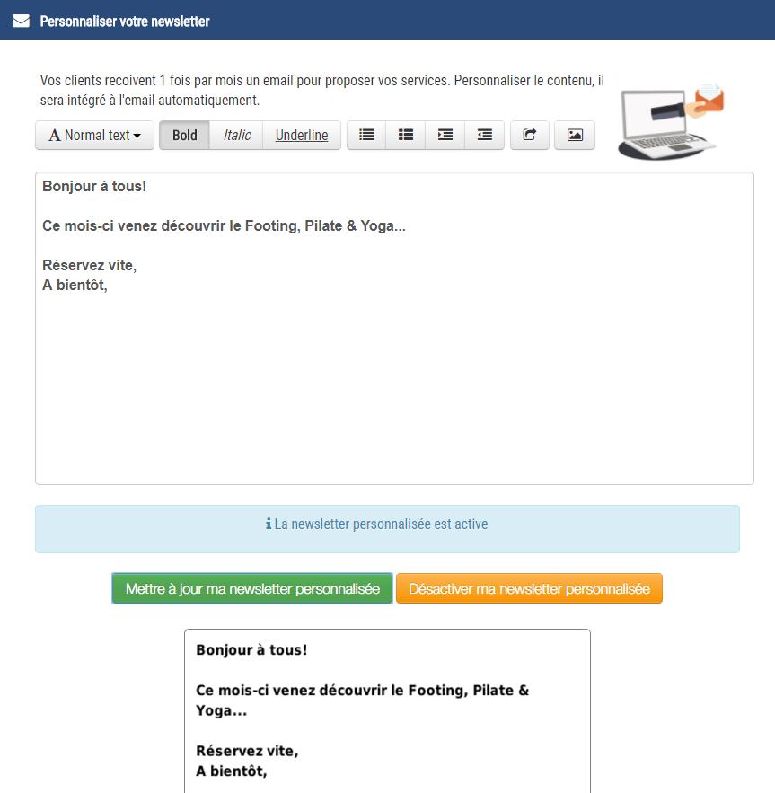 personnalisation de la newsletter pour vos clients