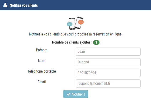 notifier des clients