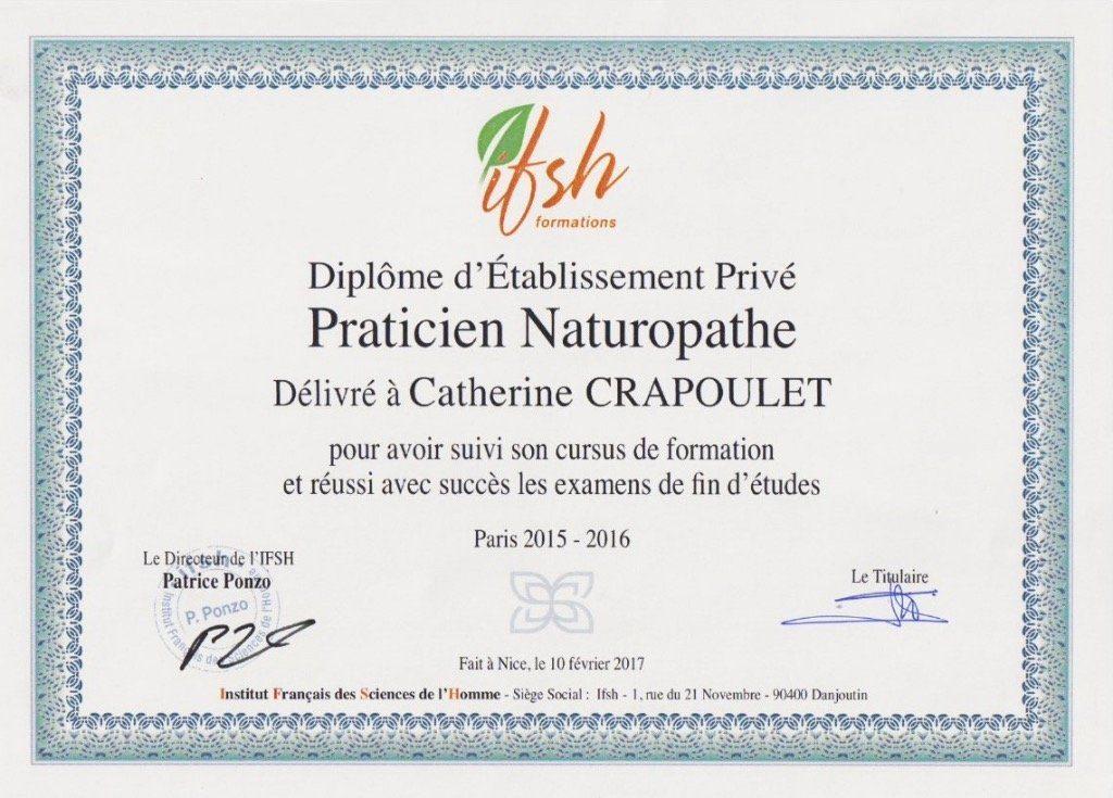 diplôme Catherine Crapoulet